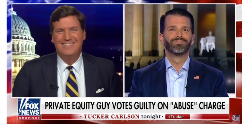 Don Jr. on Tucker Carlson with our Q Flag pin